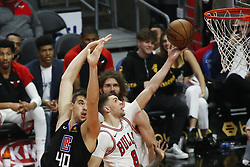 March 15, 2019 - Los Angeles, California, U.S - Chicago Bulls' Zach LaVine (8) goes to basket while defended by Los Angeles ClippersÃ• Ivica Zubac (40) during an NBA basketball game between Los Angeles Clippers and Chicago Bulls Friday, March 15, 2019, in Los Angeles. The Clippers won 128-121. (Credit Image: © Ringo Chiu/ZUMA Wire)