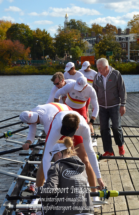 "Boston,  USA  ."" 2012 Head of the Charles"".  ..Description;  Harvard University Newell Boathouse, Tideway Scullers, Great Eight, boating for the race.  2012 Head of the Charles.  Charles River.  Massachusetts,..20:14:41  Sunday  21/10/2012 ...[Mandatory Credit: Karon Phillips/Intersport Images]"