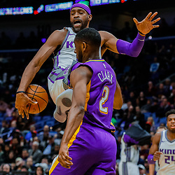 Jan 30, 2018; New Orleans, LA, USA; Sacramento Kings guard Vince Carter (15) looses the ball as New Orleans Pelicans guard Ian Clark (2) defends during the second quarter at the Smoothie King Center. Mandatory Credit: Derick E. Hingle-USA TODAY Sports