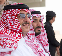 """File photo - L-R : Saudi Crown Prince Mohammed Bin Nayef and his cousin Defense Minister Mohammed Bin Salman Al Saud attend military drill """"Northern Thunder"""" in Hafr Al Batin area, north of Saudi Arabia, on March 11, 2016. A new Saudi anti-corruption body has detained 11 princes, four sitting ministers and dozens of former ministers, media reports say. The detentions came hours after the new committee, headed by Crown Prince Mohammed bin Salman, was formed by royal decree. Photo by Balkis Press/ABACAPRESS.COM  
