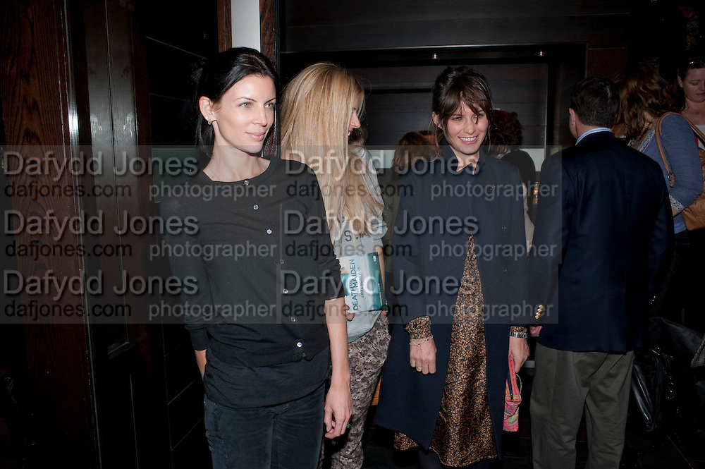 LIBERTY ROSS; LAURA BAILEY; SHEHEREZADE GOLDSMITH, party after the Press Night of 'Death And The Maiden'  ( which opened at the Harold Pinter Theatre.) Mint Leaf Restaurant & bar. Haymarket. London. 24 October 2011. <br /> <br />  , -DO NOT ARCHIVE-© Copyright Photograph by Dafydd Jones. 248 Clapham Rd. London SW9 0PZ. Tel 0207 820 0771. www.dafjones.com.