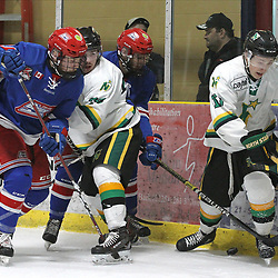 COCHRANE, ON - MAY 2: Alex Erwin #17 of the Thunder Bay North Stars battles along the boards with the blade's players during the second period on May 2, 2019 at Tim Horton Events Centre in Cochrane, Ontario, Canada.<br /> (Photo by Tim Bates / OJHL Images)