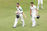 LUNCH - Matt Taylor & Benny Howell leave the field for lunch during the Specsavers County Champ Div 2 match between Gloucestershire County Cricket Club and Leicestershire County Cricket Club at the Cheltenham College Ground, Cheltenham, United Kingdom on 17 July 2019.