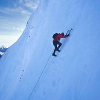 Kristie Arend climbs Spindrift Couloir, Big Four Mountain, WA.
