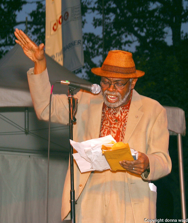 Poet Amiri Baraka performs as the Nuyorican Poets Cafe celebrates anniversary at Central Park SummerStage on June 24, 2004.
