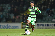 Forest Green Rovers Reece Brown(10) on the ball during the EFL Trophy 3rd round match between Yeovil Town and Forest Green Rovers at Huish Park, Yeovil, England on 9 January 2018. Photo by Shane Healey.