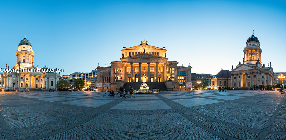 Panoramic view of Gendarmenmarkt square in the evening in Mitte Berlin Germany