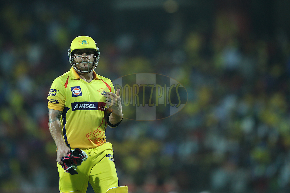 Brendon McCullum of the Chennai Superkings departs during match 43 of the Pepsi IPL 2015 (Indian Premier League) between The Chennai Superkings and The Mumbai Indians held at the M. A. Chidambaram Stadium, Chennai Stadium in Chennai, India on the 8th May April 2015.<br /> <br /> Photo by:  Ron Gaunt / SPORTZPICS / IPL
