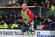 Wayne Rooney Forward of Manchester United warming up as substitute during the EFL Cup semi final match 2 between Hull City and Manchester United at the KCOM Stadium, Kingston upon Hull, England on 26 January 2017. Photo by Phil Duncan.