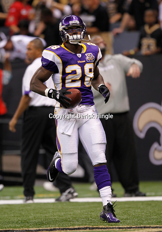 September 9, 2010; New Orleans, LA, USA;  Minnesota Vikings running back Adrian Peterson (28) during warm ups prior to the NFL Kickoff season opener between the Minnesota Vikings and the New Orleans Saints at the Louisiana Superdome. Mandatory Credit: Derick E. Hingle