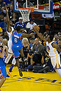 Golden State Warriors forward Kevin Durant (35) attempts to block a lay up by Oklahoma City Thunder guard Semaj Christon (6) at Oracle Arena in Oakland, Calif., on November 3, 2016. (Stan Olszewski/Special to S.F. Examiner)