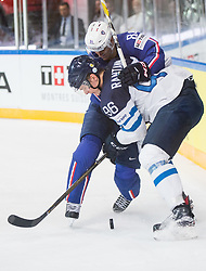 Kevin Hecquefeuille of France vs Mikko Rantanen of Finland during the 2017 IIHF Men's World Championship group B Ice hockey match between National Teams of Finland and France, on May 7, 2017 in Accorhotels Arena in Paris, France. Photo by Vid Ponikvar / Sportida