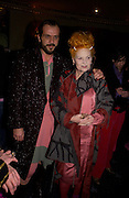 Andreas Kronthaler and Vivienne Westwood. 25th anniversary party and fashion show by Agent Provocateur at the Cafe de Paris, Coventry Street, London W1 on 14th February 2005.ONE TIME USE ONLY - DO NOT ARCHIVE  © Copyright Photograph by Dafydd Jones 66 Stockwell Park Rd. London SW9 0DA Tel 020 7733 0108 www.dafjones.com