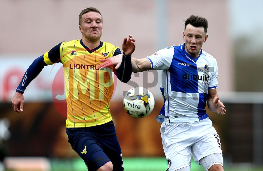 Ollie Clarke of Bristol Rovers goes past Joe Skarz of Oxford United - Mandatory by-line: Robbie Stephenson/JMP - 04/03/2017 - FOOTBALL - Kassam Stadium - Oxford, England - Oxford United v Bristol Rovers - Sky Bet League One