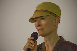 Tilda Swinton introducing Iranian film Bag of Rice at the Pilton Palais cinema tent on Day 2 (Saturday) of the 2017 Glastonbury Festival at Worthy Farm in Somerset. Photo date: Saturday, June 24, 2017. Photo credit should read: Richard Gray/EMPICS Entertainment