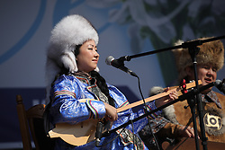 Crimea one day before the referendum. Indigenous Russian perform regional music in a Pro Russian rally  at Simferopol's Lenin Square. Simferopol, . Saturday, 15th March 2014. Picture by Daniel Leal-Olivas / i-Images