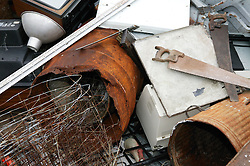 Old metal items for recycling at the Tipsmart centre at Calverton,