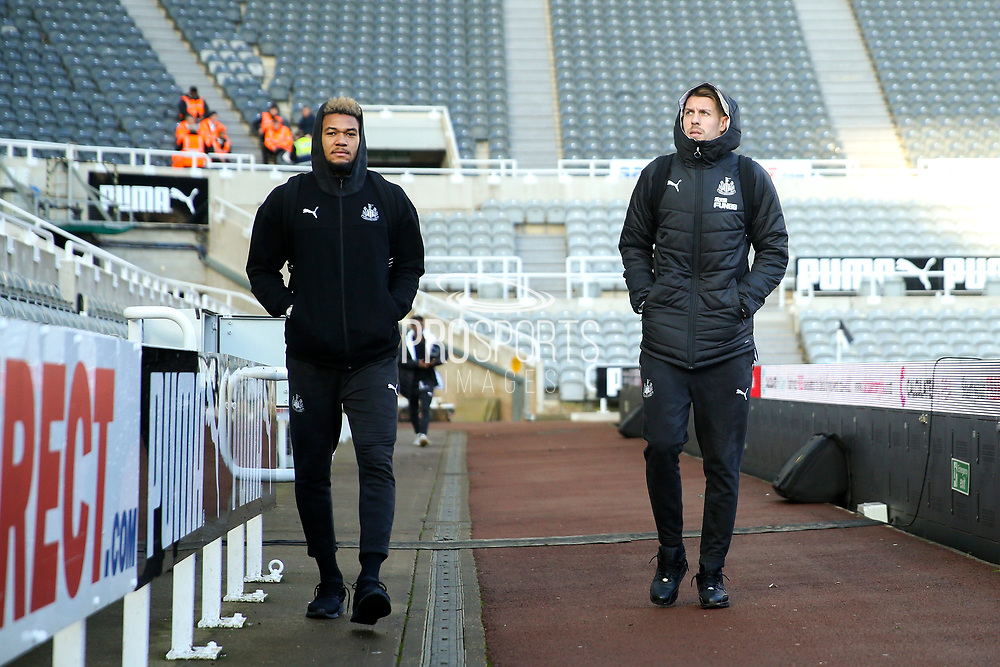Joelinton (#9) of Newcastle United and Florian Lejeune (#20) of Newcastle United arrive ahead of the Premier League match between Newcastle United and Southampton at St. James's Park, Newcastle, England on 8 December 2019.