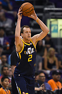 Oct 25, 2017; Phoenix, AZ, USA; Utah Jazz forward Joe Ingles (2) looks to make a pass against the Phoenix Suns in the first half at Talking Stick Resort Arena. Mandatory Credit: Jennifer Stewart-USA TODAY Sports
