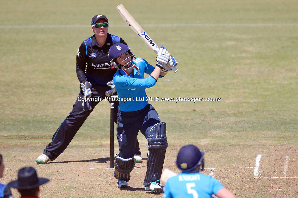 Amy Jones sends up a catch to Suzie Bates. New Zealand White Ferns v England - 3rd ODI at Bay Oval, Mount Maunganui, New Zealand. 15 February 2015. Photo credit: Margot Butcher/www.photosport.co.nz