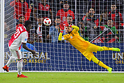 Flamengo goalkeeper Diego Alves (1) attempts to stop a penalty kick by Ajax midfielder midfielder Bertrand Traore (23) during a Florida Cup match at Orlando City Stadium on Jan. 10, 2019 in Orlando, Florida. <br /> Flamengo won in penalties 4-3.<br /> <br /> ©2019 Scott A. Miller