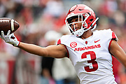 FAYETTEVILLE, AR - MARCH 6:   Koilan Jackson #3 of the Arkansas Razorbacks warms up before the annual Spring Game at Razorback Stadium on March 6, 2019 in Fayetteville, Arkansas.  (Photo by Wesley Hitt/Getty Images) *** Local Caption *** Koilan Jackson