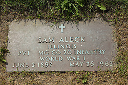 31 August 2017:   Veterans graves in Park Hill Cemetery in eastern McLean County.<br /> <br /> Sam Aleck  Illinois  Private  MG Co 20 Infantry  World War I  June 2 1897  May 26 1962