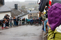 Peloton with R&eacute;mi Cavagna (FRA) of Deceuninck - Quick Step (BEL,WT,Specialized) at Saint-Roch, Houffailize during the 2019 Li&egrave;ge-Bastogne-Li&egrave;ge (1.UWT) with 256 km racing from Li&egrave;ge to Li&egrave;ge, Belgium. 28th April 2019. Picture: Pim Nijland | Peloton Photos<br /> <br /> All photos usage must carry mandatory copyright credit (Peloton Photos | Pim Nijland)