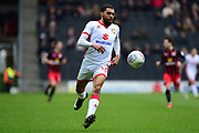 Milton Keynes Dons defender (on loan from Bristol City) Scott Golbourne (12) sprints forward with the ball  during the EFL Sky Bet League 1 match between Milton Keynes Dons and Blackburn Rovers at stadium:mk, Milton Keynes, England on 2 April 2018. Picture by Dennis Goodwin.