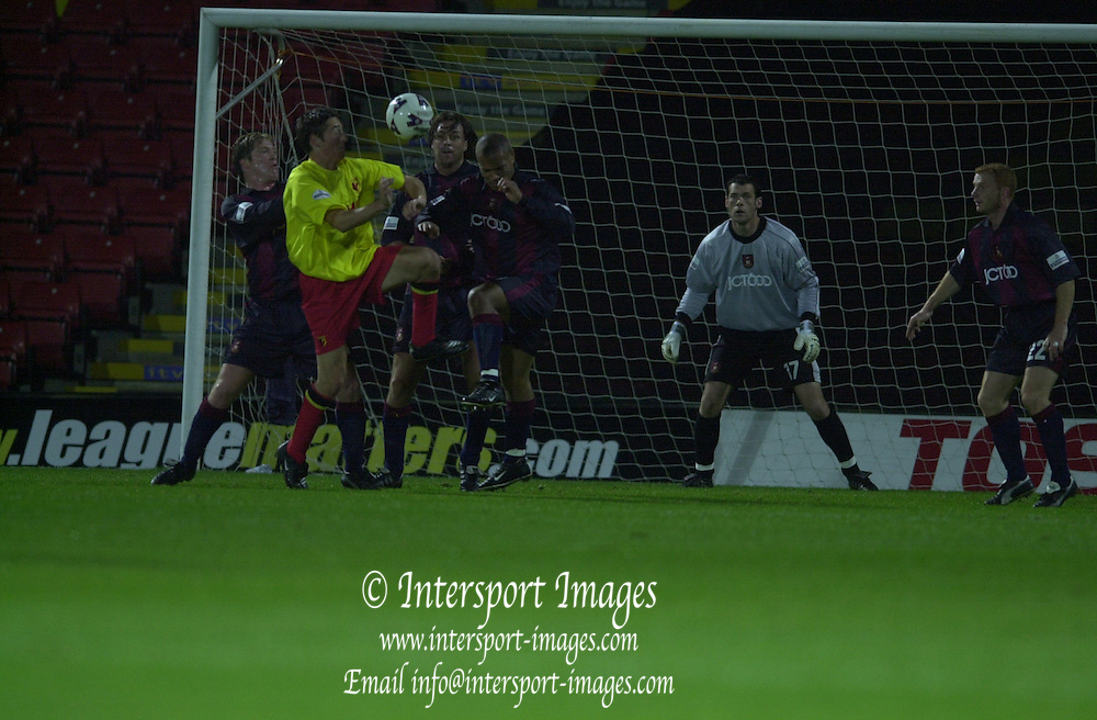 Peter Spurrier Sports  Photo.email pictures@rowingpics.com.Tel 44 (0) 7973 819 551..Worthington Cup Third Round..Watford v Bradford City.Tuesday 9/10 2001.Steven Hughes goe's fro the high ball