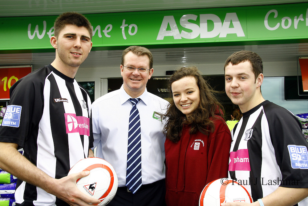 l-r, Corby town FC player, Paul Malone, Store Manager, Ian Rowntree, Corby ASDA sporting chance nominee, Lydia Barnham, Corby Town FC player, Aiden Ashton outside the newly revamped store