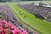 DARK VISION (2) ridden by David Probert and trained by Mark Johnston wins the John Smiths Median Auction Novice Stakes over 6f (£15,000) in front of a packed Knavesmire at York Racecourse, York, United Kingdom on 14 July 2018. Picture by Mick Atkins.