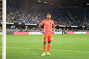 San Jose Earthquakes goalkeeper Daniel Vega (17) watches the video board during an MLS soccer match won by the Philadelphia Union 2-1, Wednesday, Sept. 25, 2019, in San Jose, Calif. (Peter Klein/Image of Sport)