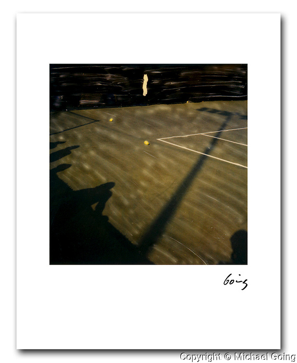 Shadows US Tennis Open 1985. 8x10 archival pigment print free shipping USA Hand altered Polaroid SX 70 photograph. Printed to order and individually hand signed.