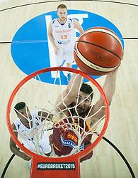 06-09-2015 CRO: FIBA Europe Eurobasket 2015 Nederland - Macedonie, Zagreb<br /> Predrag Samardziski of Macedonia during basketball match between Netherlands and Macedonia at Day 2 in Group C of FIBA Europe Eurobasket 2015, on September 6, 2015, in Arena Zagreb, Croatia. Photo by Vid Ponikvar / RHF