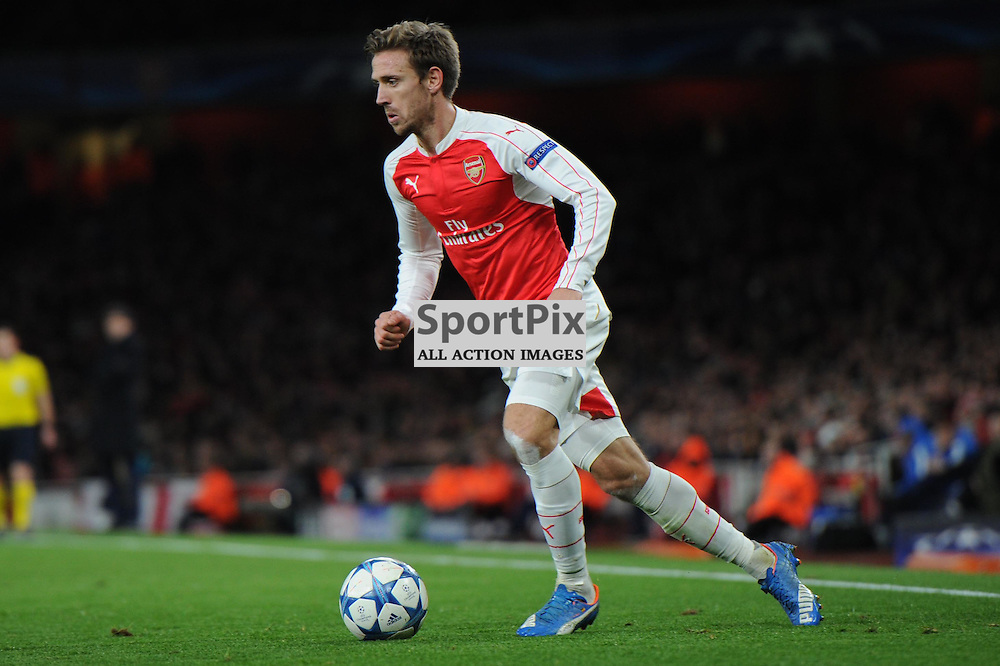 Arsenals Nacho Monreal in action during the Arsenal v Dinamo Zagreb game in the UEFA Champions League on the 24th November 2015 at the Emirates Stadium.