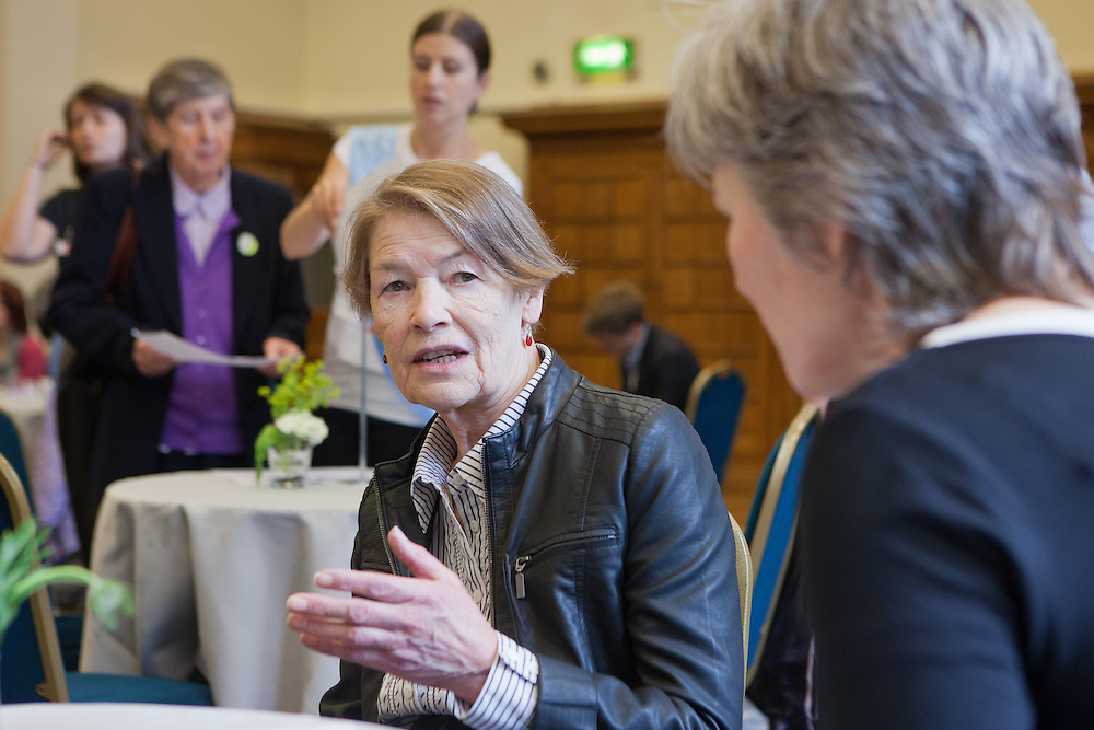 Glenda Jackson MP in discussion with her constituents at the Tea time for change event. Refreshing the call for justice. Organised by the UK's leading NGO's.  Enabling constituents to dicuss the subject with their MP.