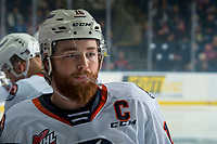 KELOWNA, BC - OCTOBER 12: Zane Franklin #16 of the Kamloops Blazers rinses his mouth with water at the bench against the Kelowna Rockets at Prospera Place on October 12, 2019 in Kelowna, Canada. (Photo by Marissa Baecker/Shoot the Breeze)