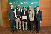 Award recipients of the Presidential Teacher Award pose with Ohio University leadership following the ceremony in Baker Ballroom on Oct. 31, 2018. Photo by Hannah Ruhoff