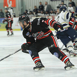 """FORT FRANCES, ON - Apr 30, 2015 : Central Canadian Junior """"A"""" Championship, game action between the Soo Thunderbirds and the Toronto Patriots game five of the Dudley Hewitt Cup. Nicolas Sicoly #7 of the Soo Thunderbirds pursues the play in the second period.<br /> (Photo by Tim Bates / OJHL Images)"""