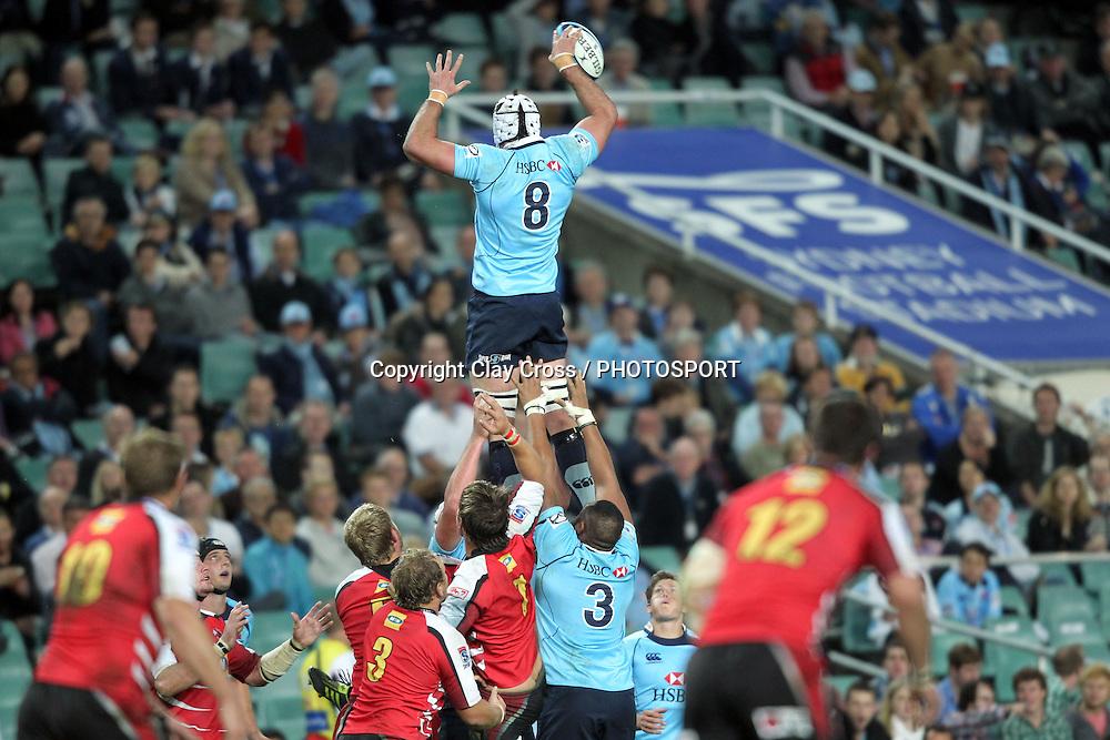 Ben Mowen wins a lineout. NSW Waratahs v Lions. Investec Super Rugby Round 14 Match, 21 May 2011. Sydney Football Stadium, Australia. Photo: Clay Cross / photosport.co.nz