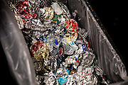 24 November 2013 - New York, NY [The inside of of an aluminum redemption machine after it has filled up.] 11/24/13 Stoneham/CUNY Journalism Photo