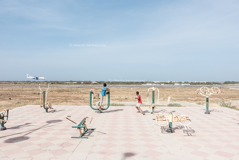 Cabo Verde, Boa Vista, children plying near the airport