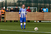 Charlotte Gurr about to take a free kick during the FA Women's Premier League match between Brighton Ladies and Cardiff City Ladies at Brighton's Training Ground, Lancing, United Kingdom on 22 March 2015. Photo by Geoff Penn.