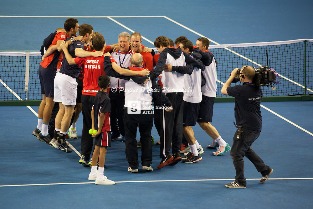 Team GB celebrate their Davis Cup tie win over the USA.
