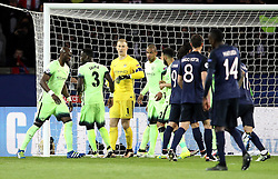 Manchester City players congratulate Joe Hart on making a save from Zlatan Ibrahimovic of Paris Saint-Germain's penalty - Mandatory by-line: Robbie Stephenson/JMP - 06/04/2016 - FOOTBALL - Parc des Princes - Paris,  - Paris Saint-Germain v Manchester City - UEFA Champions League Quarter Finals First Leg