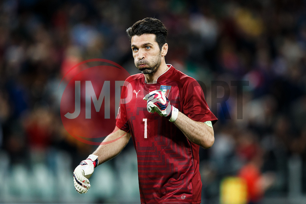 Goalkeeper Gianluigi Buffon of Italy reacts after his side score a goal to make it 1-0 - Photo mandatory by-line: Rogan Thomson/JMP - 07966 386802 - 31/03/2015 - SPORT - FOOTBALL - Turin, Italy - Juventus Stadium - Italy v England - FIFA International Friendly Match.