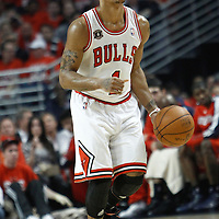 10 May 2011: Chicago Bulls point guard Derrick Rose (1) brings the ball upcourt during the Chicago Bulls 95-83 victory over the Atlanta Hawks, during game 5 of the Eastern Conference semi finals at the United Center, Chicago, Illinois, USA.