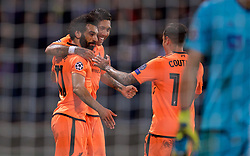 MARIBOR, SLOVENIA - Tuesday, October 17, 2017: Liverpool's Mohamed Salah celebrates scoring the third goal with team-mates Roberto Firmino and Philippe Coutinho Correia during the UEFA Champions League Group E match between NK Maribor and Liverpool at the Stadion Ljudski vrt. (Pic by David Rawcliffe/Propaganda)