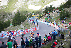 A small group of riders reaches the final meters of La Course 2017 - a 67.5 km road race, from Briancon to Izoard on July 20, 2017, in Hautes-Alpes, France. (Photo by Balint Hamvas/Velofocus.com)